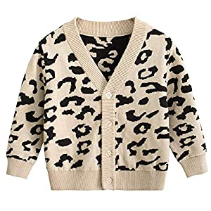 Toddler Baby Knitted Sweater Girl Boy Single Breasted Leopard Heart Animal Print Cardigan Jacket Outfit Clothes