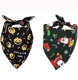 Jashem Holiday Dog Bandana 3 Theme of Halloween, Thanksgiving Day, Christmas Dog Bandanas 2 Pieces Pet Triangle Bibs Scarf Fit for Large Medium or Small Dog Collar (2 Theme)