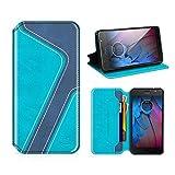MOBESV Smiley Motorola Moto G5S Hülle Leder, Motorola Moto G5S Tasche Lederhülle/Wallet Hülle/Ledertasche Handyhülle/Schutzhülle mit Kartenfach für Motorola Moto G5S, Aqua/Dunkel Blau