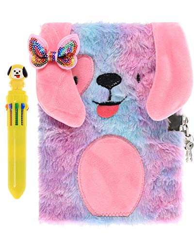 HH Family Diary for Girls Writing Journal Notebook with Matching Multicolored Pen Set (Dog R)