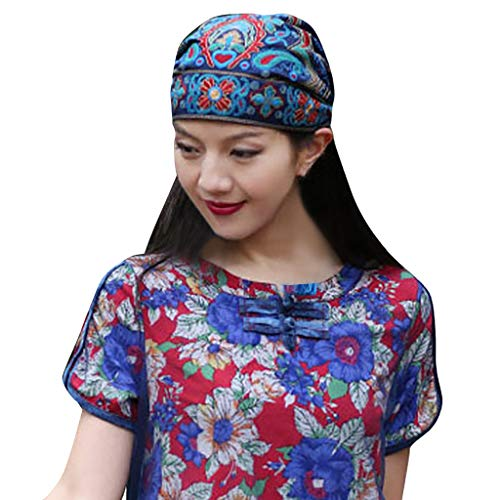 Bucket Hats for Women, Women Mexican Style Ethnic Vintage Embroidery Flowers Bandanas Red Print