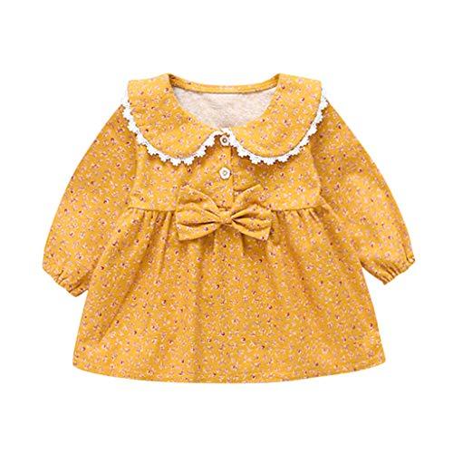 Deloito Babykleidung Kinder Mädchen Freizeit Langarm Blumendruck Spitze Rock Puppe Kragen Bowknot Prinzessin Kleid (Gelb-A,90/12-18 M)