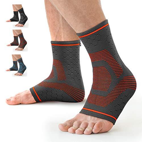 Awenia Fussbandage Fußbandage Fußgelenk Fersensporn Bandage Knöchel Laufen Sport Bandage Sprunggelenk Männer Damen,Orange S