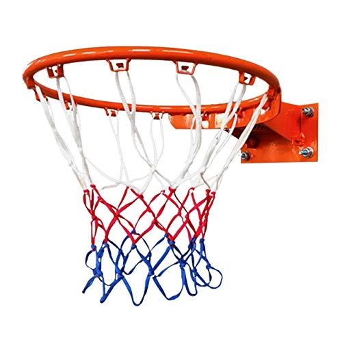Fuxwlgs Aro de Baloncesto Duradera tamaño estándar del Hilo de Nylon Deportes del aro de Baloncesto Red del Acoplamiento del Tablero Trasero del Borde de la Bola PUM (Color : White Red and Blue)