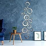 Meet-shop Pegatina Espejo,Espejo Adhesivo 24 PCS Cuadrados de Azulejo Espejo Pegatinas de Pared para Cuarto de Baño Dormitorio Papel Tapiz Pegar Mosaico Espejo