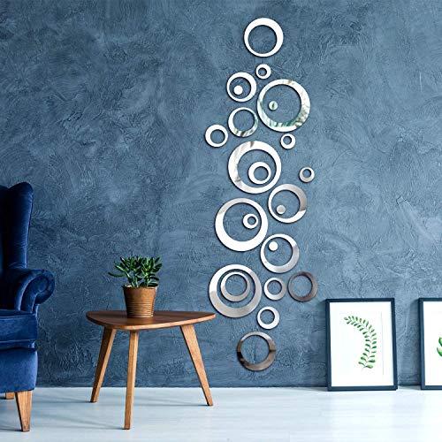 Pegatina Espejo,Espejo Adhesivo 24 PCS Cuadrados de Azulejo Espejo Pegatinas de Pared para Cuarto de Baño Dormitorio Papel Tapiz Pegar Mosaico Espejo,15x15cm