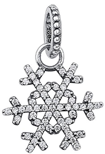 SaySure - 925 Sterling Silver Snowflake Pendant Charm With Clear CZ
