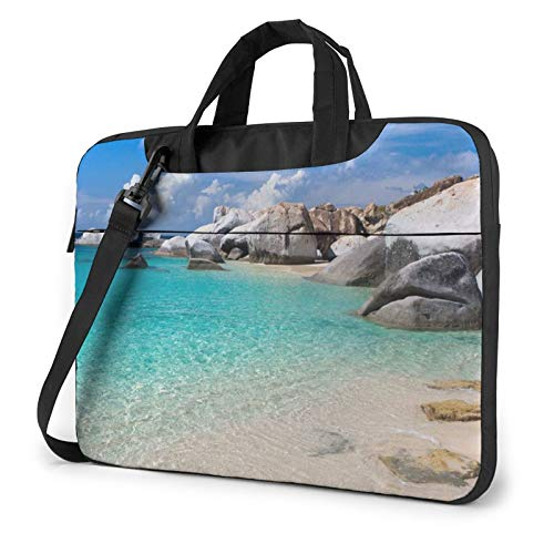 Laptop Shoulder Bag - Stones Blue Sea Ocean Sunrise Mountain Printed Shockproof Waterproof Laptop Shoulder Backpack Bag Briefcase 15.6 Inch