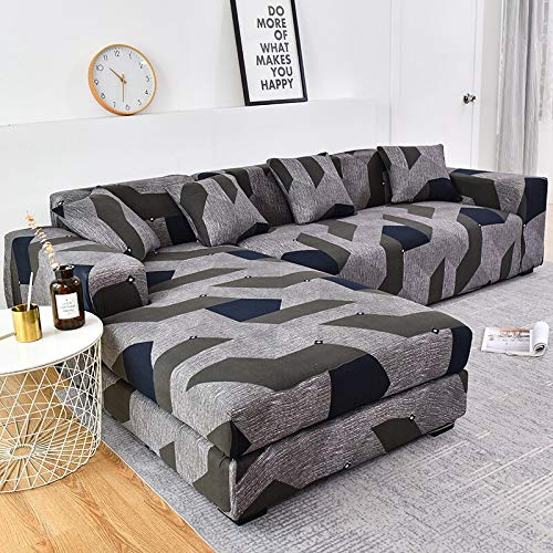 WXQY Funda de sofá elástica en Forma de L Funda de sofá elástica de algodón para Sala de Estar Funda de sofá a Prueba de Polvo Completa Funda de sillón A21 1 Plaza