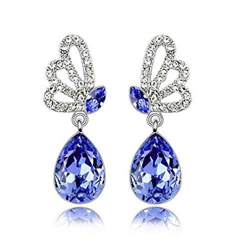 Pour Femme Fille Fantaisie Boucles d'oreilles Papillon Avec Bleu Zirconium Argent 925 Bagues d'oreilles- Bleu Marine