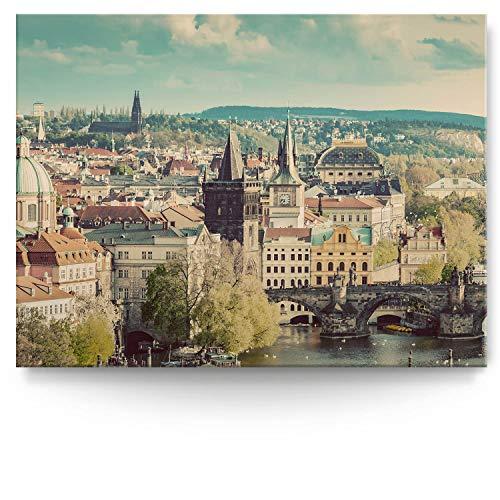 BilderKing Intensiv & Impostant 200x150cm großes Leinwand-Bild. Skyline, Prag als Wandbild auf 4cm tiefen Keilrahmen. Eindrucksvoller können Sie Ihren Raum Nicht in Szene setzen
