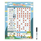 """Magnetic Chore Chart for Kid at Home, Bahavior Chart for Kid at Home, Reward Chart for Kids Behavior. Each Set Includes 30 tasks, 104 Stars, and one 11"""" x 14.5' Magnetic Chart- Blue"""