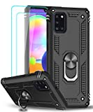 LeYi Compatible for Samsung Galaxy A31 Case with [2 Pack] Tempered Glass Screen Protector, [Military-Grade] Defender Protective Phone Case with Car Ring Holder Kickstand for Samsung A31, Black