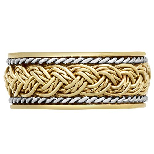 14K Two Tone Gold Hand Braided Solid Comfort Fit Wedding Band (9mm) Size 9.5