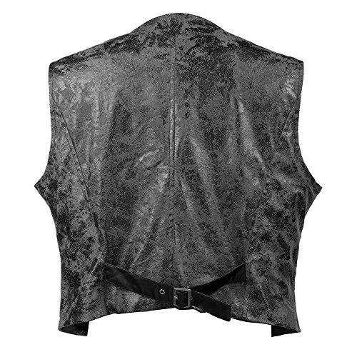 Bslingerie® Mens Steampunk Faux Leather Waistcoats Vest (XL, Black Vest) steampunk buy now online