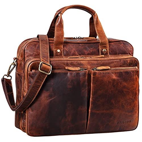 STILORD 'Remus' Vintage Bolso Bandolera Piel Hombres Maletín Grande para portátil 15,6 Pulgadas Bolso Bandolera XL Cuero, Color:Kara - Cognac