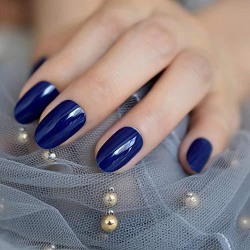 Wangguifu Uv Gel Petit Ovale Artificielle Nail Nouveau Diamant Bleu Brillant Polonais Couverture Conception Vernis À Ongles, Contient 24 Pcs