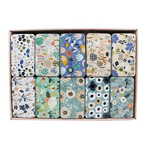 MAGELIYA 20 Piezas de Flores de Colores Mini Caja de hojalata Moneda Pendientes de Caramelo Estuche Organizador de Joyas