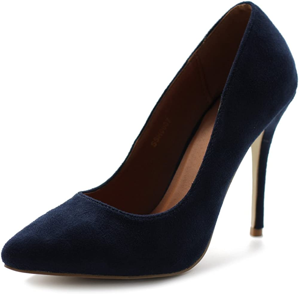 Ollio Women's Faux Suede Point Toe Color Heel Shoe Max 63% OFF NEW Pu Multi High