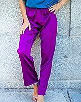 The Drop por @balamoda - Pantalón sin cierre en satén para mujer, color violeta oscuro (S)