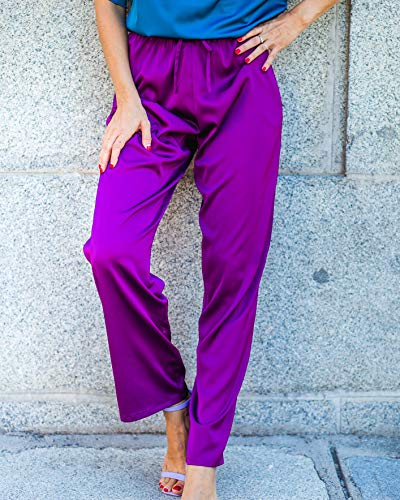 The Drop Women's Dark Violet Satin Pull-on Pant by @balamoda