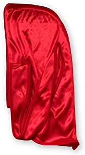 Silky Durag - (RED) - Extra Long/Wide Straps (360 Waves)