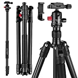 MACTREM Professional Camera Tripod with Phone Mount, 62' DSLR Tripod for Travel, Super Lightweight and Reliable Stability, Ball Head Tripod Detachable Monopod with Carry Bag (Black)