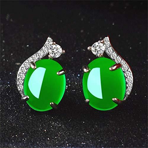 xingguang Novedad pendientes Natural Verde Jade Calcedonia Pendientes redondos plata 925 ágata tallada encanto jadeita joyería moda amuleto para mujeres regalos