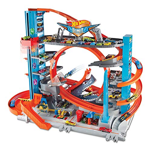 Image of Hot Wheels City Ultimate Garage with Shark Attack, Multi