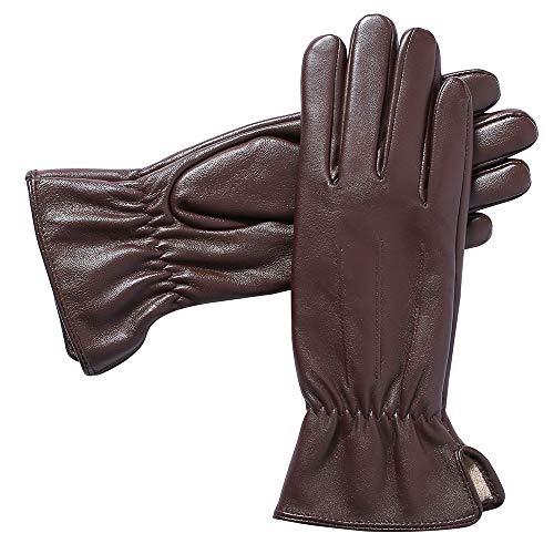 Acdyion Damen Echtes Lederhandschuhe Touchscreen Winterhandschuhe Echtleder Kaschmirfutter Autofahren Outdoor winddicht wasserdicht (Medium, Braun)
