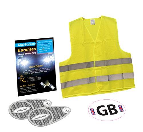 Eurolites Phare Déflecteur d'adaptateurs + Go Sticker B/Blanc + haute visibilité Gilet sans manches pour homme