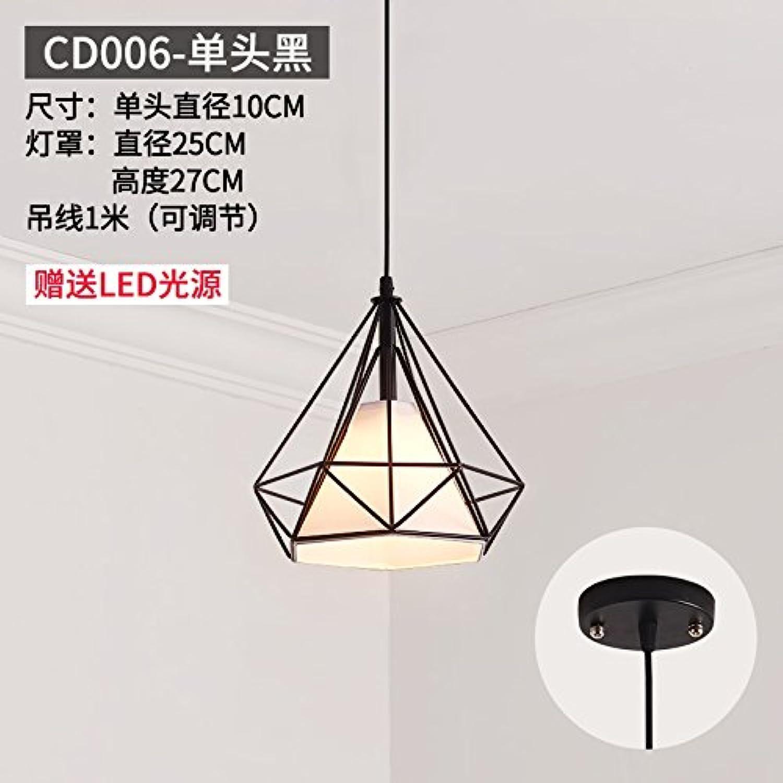 BESPD Modernes, minimalistisches Runde kreative Restaurant Continental Kronleuchter Deckenlampe Pendelleuchte Cd 006 - Einzelne schwarze Led