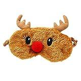 Ulife Mall Antifaz para Dormir Reno 3D Máscara de Ojo de Navidad Gracioso Máscara Transpirable de Sueño para Viaje Cubierta de Ojo de Felpa Suave con Banda de goma Elástica para Niños Mujer - Marrón