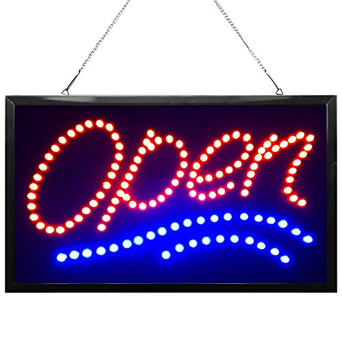 22x13inch Large Vertical LED Open Sign for Business: Lighted Signs with Flashing&Steady, Electric Light up Signs for Stores, Bars,resturatant, Window,Walls.