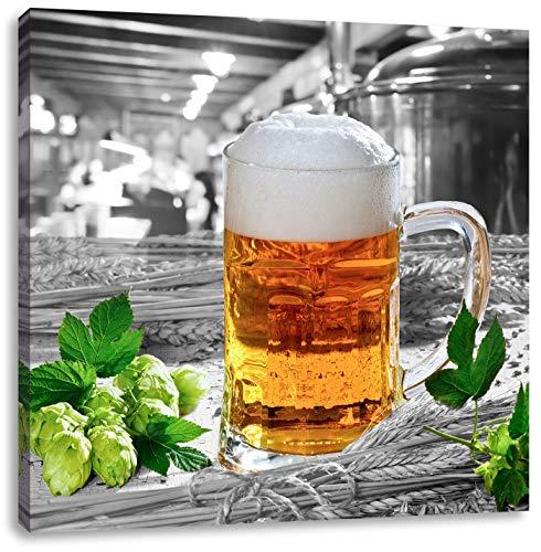 Vers bier met schuimCanvas Foto Plein | Maat: 40x40 cm | Wanddecoraties | Kunstdruk | Volledig gemonteerd
