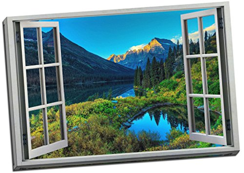 Large Mountain Lake Scenic View 3D Window Effect Canvas Print Picture Wall Art Large 30x20 Inches