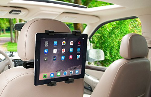 Okra 360 Degree Adjustable Rotating Headrest Car Seat Mount Holder for iPad, Samsung Galaxy,Motorola Xoom, and All Tablets Up to -10.1'