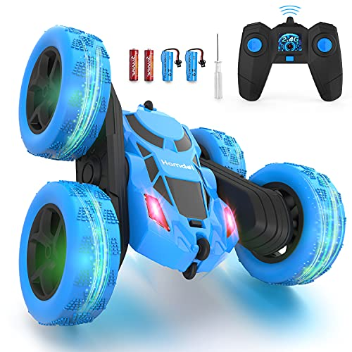 Hamdol Remote Control Car Double Sided 360°Rotating 4WD RC Cars with Headlights 2.4GHz Electric Race Stunt Toy Car Rechargeable Toy Cars for Boys Girls Birthday