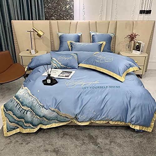 juego de funda nórdica cama 150,Kit de seda de lavado de agua de cuatro piezas de algodón, algodón abajo, conjunto de ropa de cama individual de cama individual regalos-A_1,8 m de cama (4 piezas)