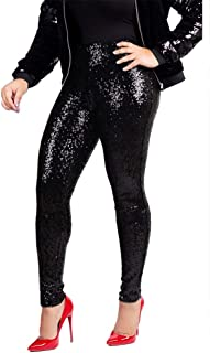 Women's Sequine Sparkle Party Stretchy Leggings Bling Tights High Waist Pants