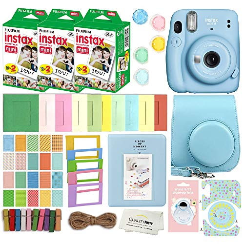 Fujifilm Instax Mini 11 Instant Camera with Case, 60 Fuji Films, Decoration Stickers, Frames, Photo Album and More Accessory kit (Sky Blue)