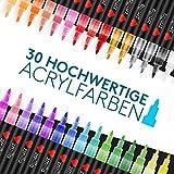 ZMILLA® Acrylstifte (30 Farben) - Extra Dünne 0,7mm Spitze - Inklusive EBook - Wasserfeste Multimarker Zum Steine Bemalen