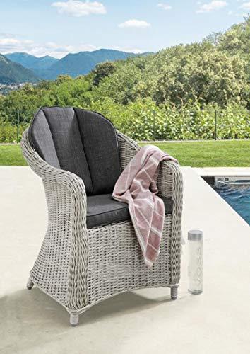 Destiny 2er Set Sessel Malaga II Vintage Weiß Geflechtsessel Polyrattan Gartensessel