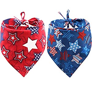 KZHAREEN 2 Pack American Flag Dog Bandana USA Triangle Bibs Scarf Reversible Accessories for Dogs Pets Cat Large