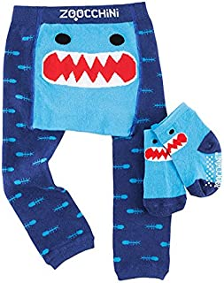 Baby Non-Skid Comfort Crawler Leggings & Socks Set - Fun Colorful Characters, 6-18 Months