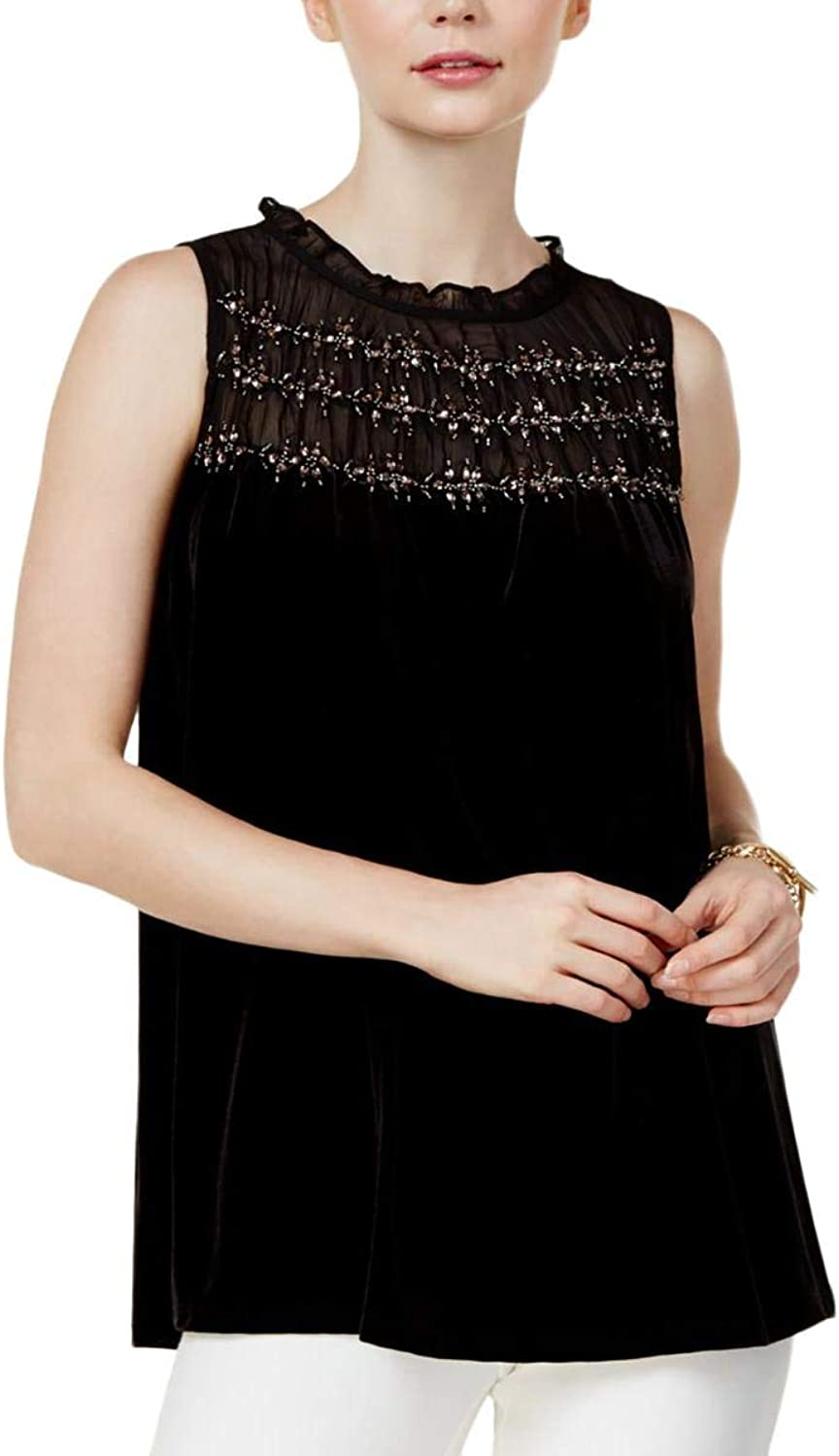 Alfani Womens Velvet Beaded Dress Top Black S