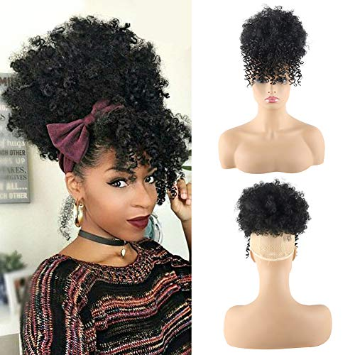 CHOOH Afro High Puff Hair Bun Ponytail Drawstring With Bangs Synthetic Short Kinkys Curly Pineapple Pony Tail Clip in on Wrap Updo Hair Extensions for African American Women (1B)