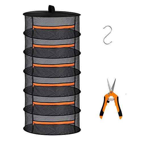 Desy & Feeci 6-lagiges Netz-Abtropfgestell zum Aufhängen von Kräutern, Trockennetz mit orangefarbenen Reißverschlüssen
