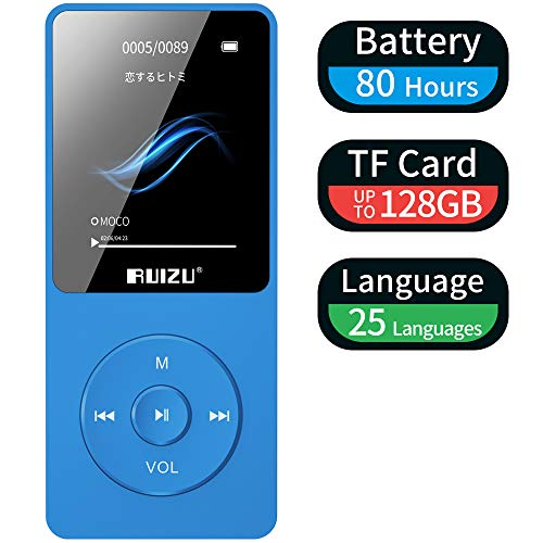 MP3 Player, RUIZU X02 16GB Ultra Slim Music Player with FM Radio,Voice Recorder,Video Play,Text Reading,80 Hours Playback and Expandable Up to 128 GB (Blue)