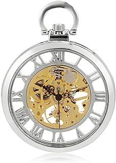 Lwieui Reloj de Bolsillo Nuevo Reloj de Bolsillo mecánico Descubierto Reloj de Bolsillo Blanco Plateado Personalidad del E...